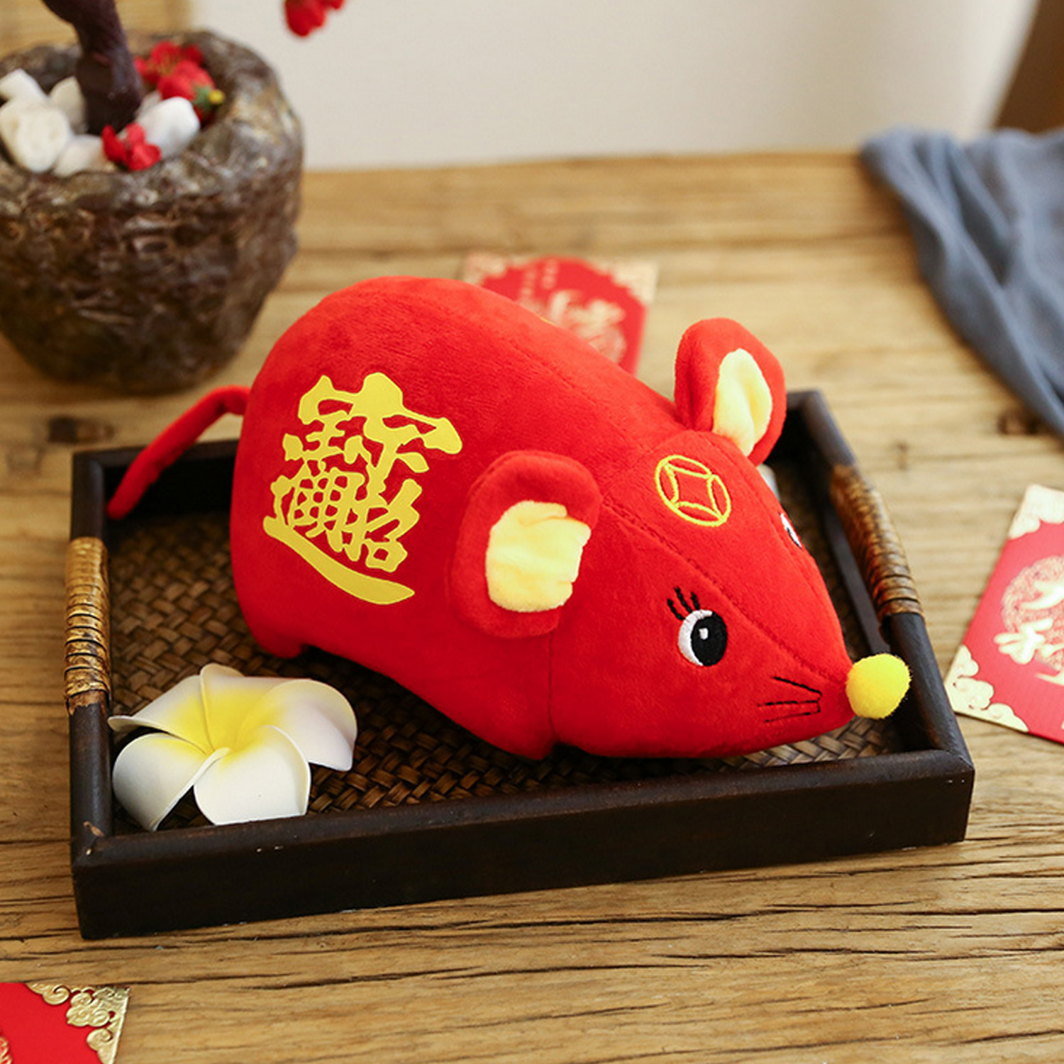 Cute Red Lucky Rat Plush Stuffed Doll Toy Home Party Decoration For 2020 Chinese New Year Spring Festival Gift 35cm Random Style