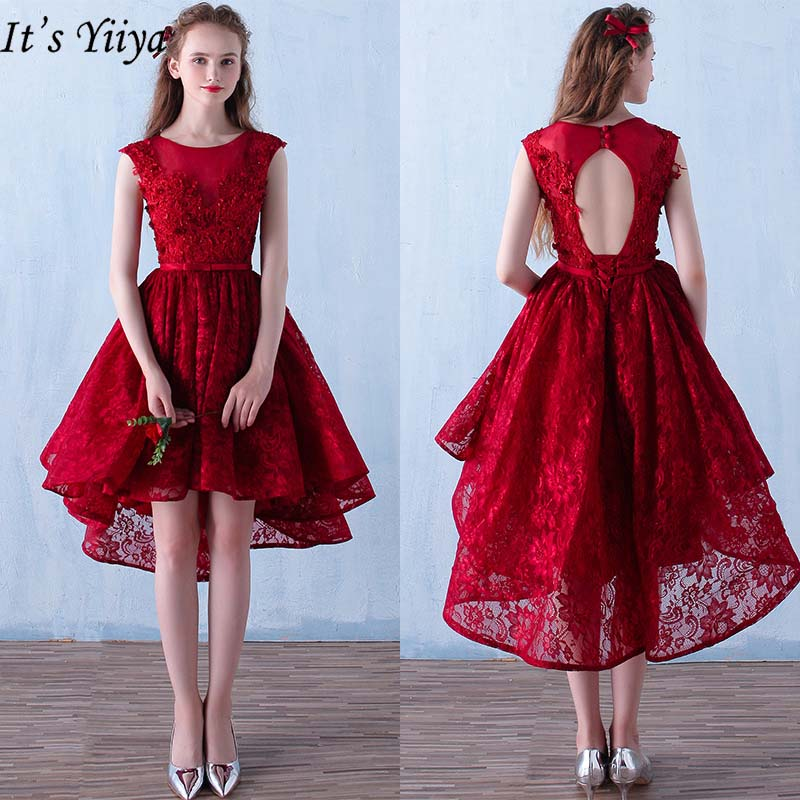 It's YiiYa   Cocktail     Dresses   2019 Burgundy Fashion O-neck Sleeveless Party   Dresses   Sexy Backless Lace Up Knee-Length   Dresses   L171