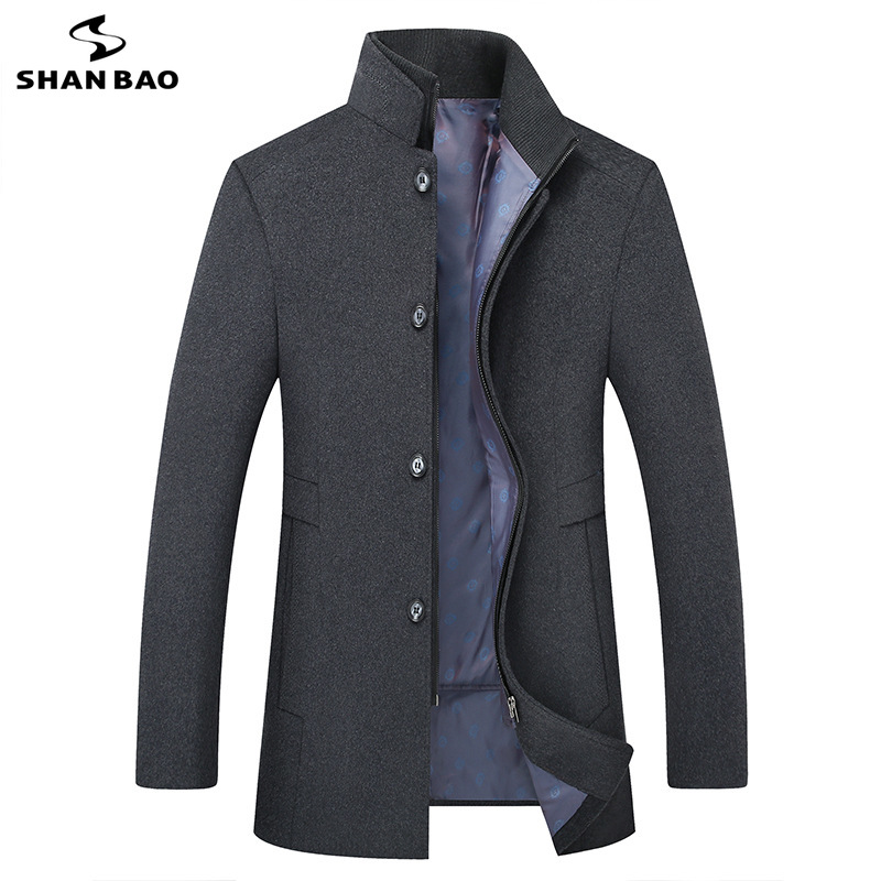 big size M-6XL men's casual wool coat 2019 winter new brand luxury high quality business gentleman stand collar zip button coat