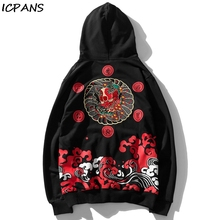ICPANS Embroidery Devil Wave Print Hooded Sweatshirts Hoodies Hip Hop Pullover Streetwear Tops Harajuku  Fashion Casual Hoodie