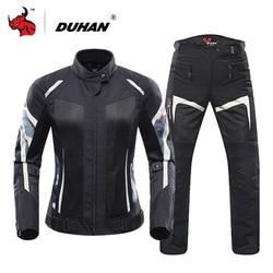 DUHAN Women Motorcycle Jacket Summer Breathable Mesh Moto Jacket Protective Gear Motorcycle Suit Motorbike Clothing Set Black