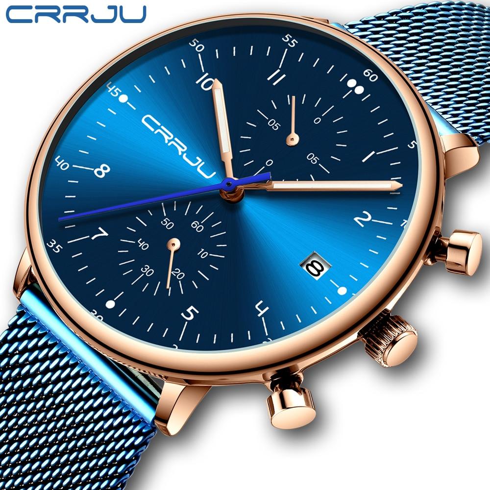 relogio masculino CRRJU Top Brand Luxury Men Stainless Steel WristWatch Mens Waterproof Calendar Chronograph Quartz watchesQuartz Watches   -