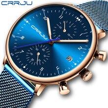 relogio masculino CRRJU Top Brand Luxury Men Stainless Steel WristWatch Mens Waterproof Calendar Chronograph Quartz watches