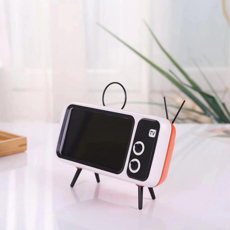 Obshi Retro TV Phone Holder Mobile Stand Universal Desktop TV Phone Holders Portable Desk Holder Stand New UK Support Smartphone
