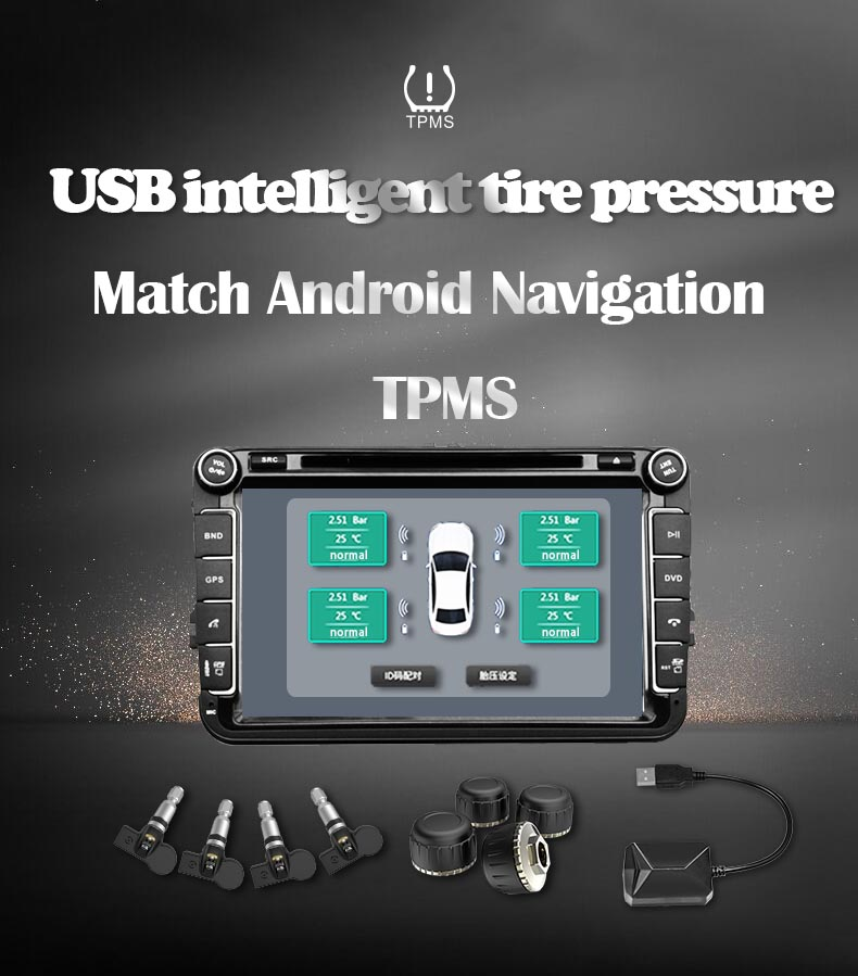USB TPMS Tire Pressure Monitoring System Android Tire Pressure Monitor Wireless Transmission 4 Internal For Most Vehicles TPMS