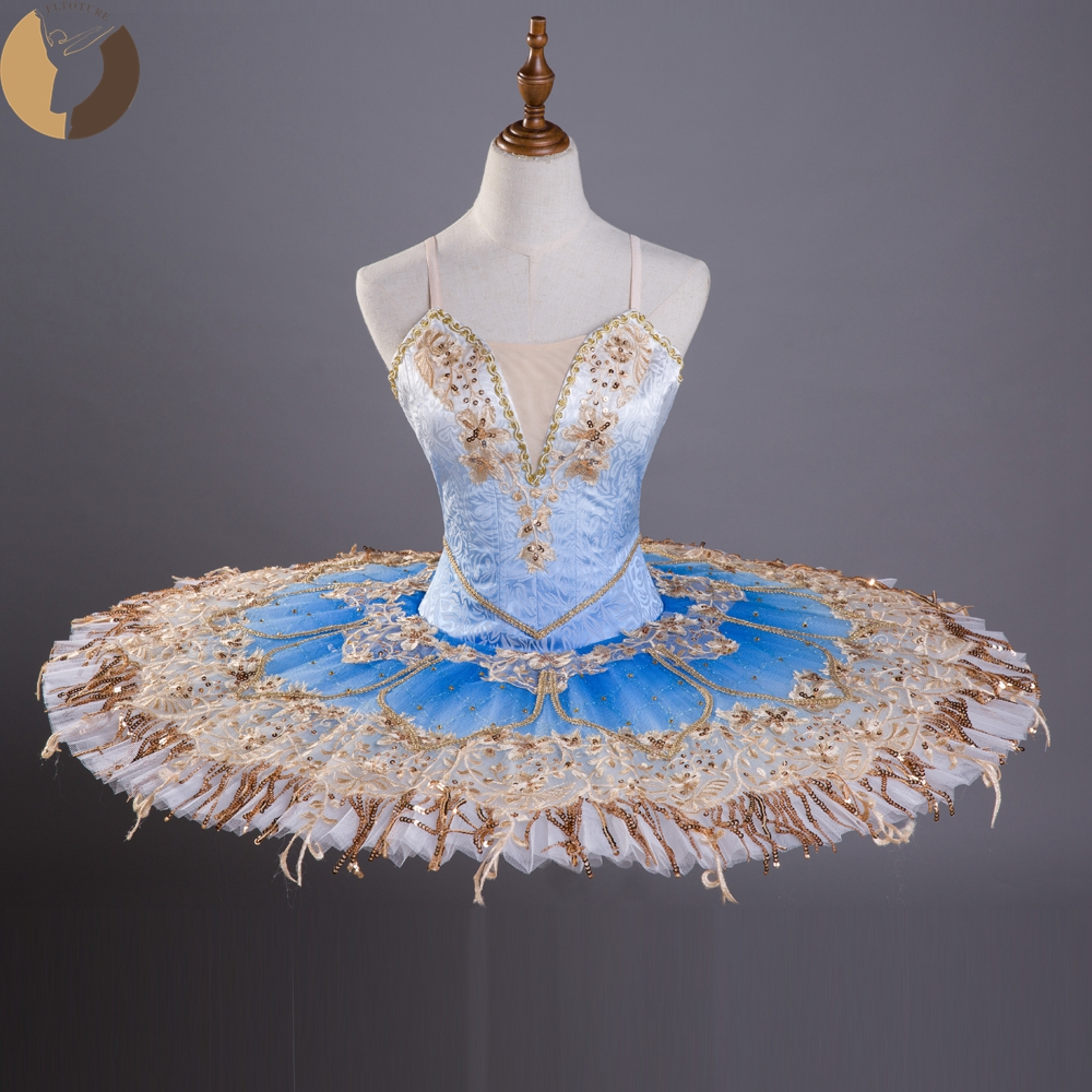 FLTOTURE Classical Pancake Tutu Skirt Sky Blue With Gold The Daughter Of The Pharaoh Ballet Competition Variation Costume Tutus