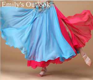 Image 3 - Bayan göbek dans eteği 2 renkler moda Bohemia çingene Maxi etek dansçı uygulama elbise egzotik giyim siyah kırmızı karışık