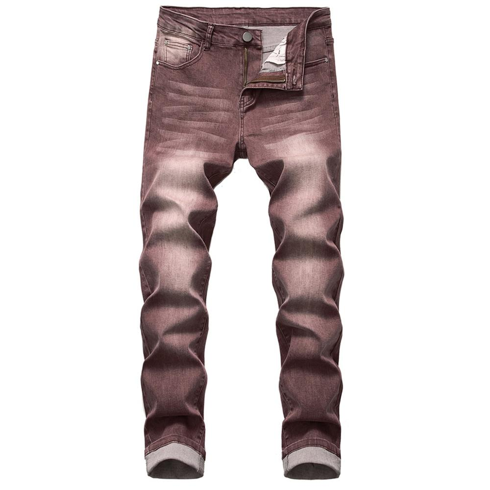 Cloudstyle New Men's Jeans Pleats Slim Stretch Denim Casual Male Pants Fashion Long Trousers Jean Homme Regular Outwears Brown