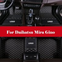 Embroidery LOGO Custom Leather car floor Foot mat waterproof car accessories styling For Daihatsu Mira Gino