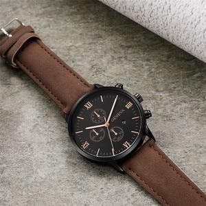 Image 2 - 2020 Relogio Masculino Watches Men Fashion Sport Stainless Steel Case Leather Strap Watch Quartz Business Wristwatch Reloj Hombr