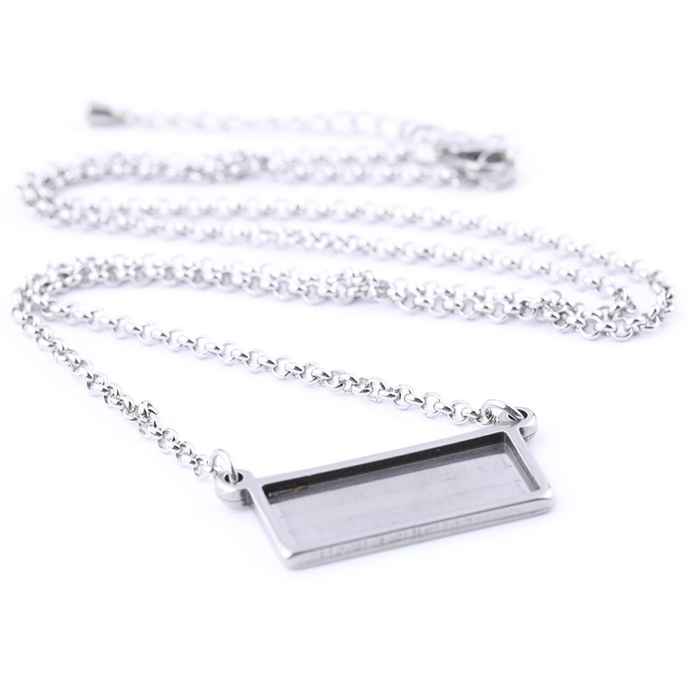 5pcs Stainless Steel Fit 10x25mm Rectangle Cabochon Pendant Base Setting Diy Blank Necklace Bezel Trays With 55cm Long Chain