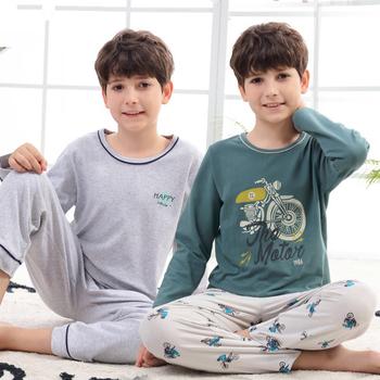 Zimowe chłopięce ubrania nastolatki zestawy piżam 100 piżamy bawełniane dziecięce z długim rękawem dziecięce piżamy bielizna nocna dla chłopca 6 8 10 12 14 rok tanie i dobre opinie LUOYIMENG COTTON CN (pochodzenie) Cartoon Wokół szyi Unisex Pełna REGULAR 4T 6T 8T 10T 12T fashion Pasuje prawda na wymiar weź swój normalny rozmiar