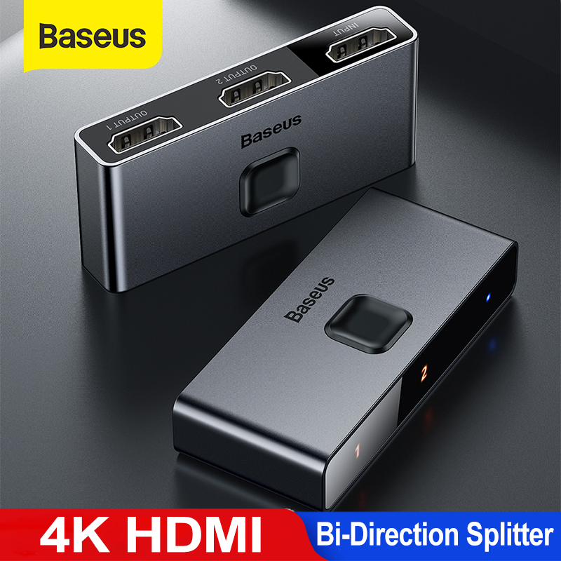 Baseus HDMI Splitter 4K HDMI Switch Adapter HDMI Switcher 2 in 1 out for PS4/3 TV Box HDMI Switch Bi-Direction 1x2/2x1 Splitter