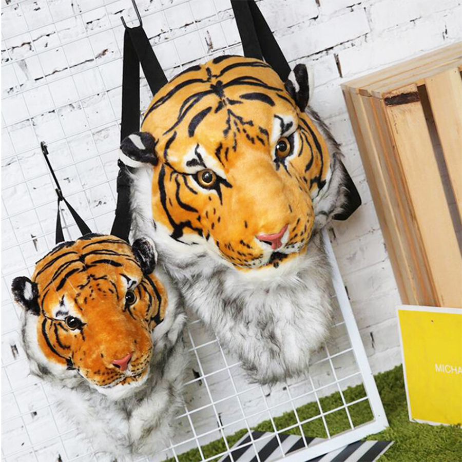 Fashion Plush 3D Tiger Lion Head Backpack Panda Backpack Personality Unisex Couple Animal Backpack Student Funny Travel Bag 2019
