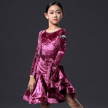 Latin Dance Dress Long Sleeve Performance Professional Competition Clothing Rumba Cha Cha Samba Tango Winter Velvet Girl DN4700