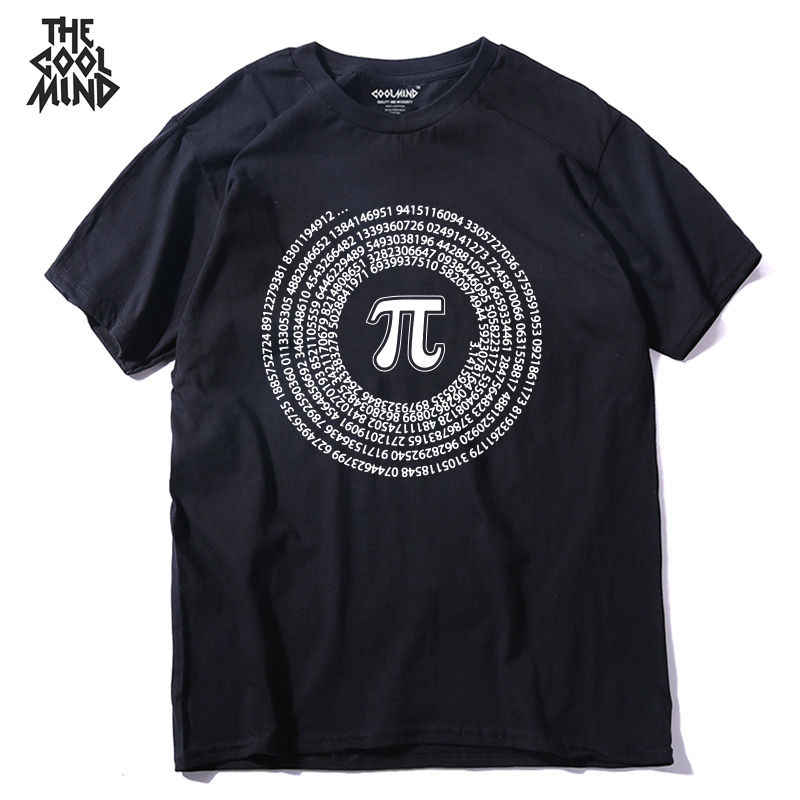 COOLMIND QI0222A 100% baumwolle kurzarm mathematik gedruckt männer t-shirt casual oansatz sommer street style coole lustige lose T-shirt