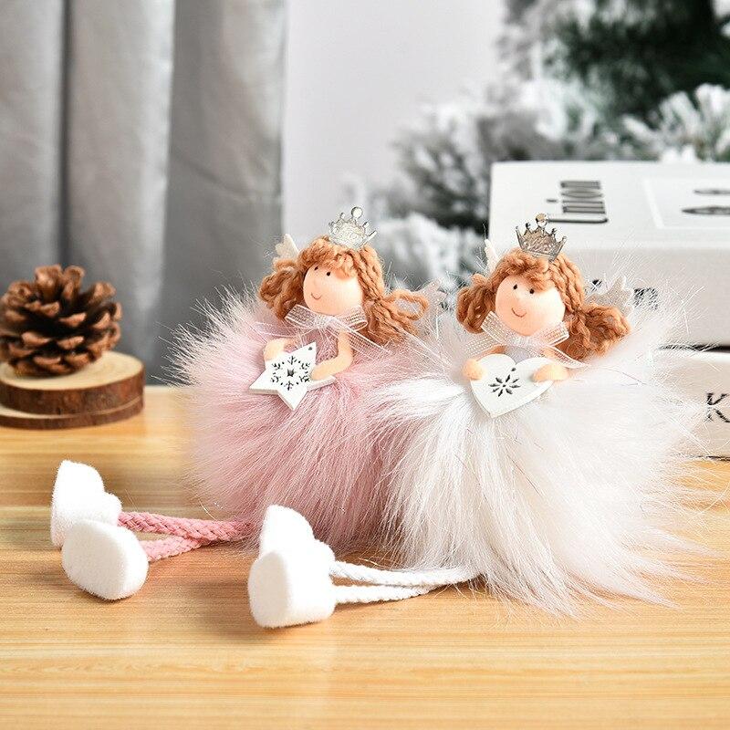 Criativo longo cabelo anjo longo perna pingente bonito boneca pouco anjo árvore de natal pendurado peças decoração natal suprimentos
