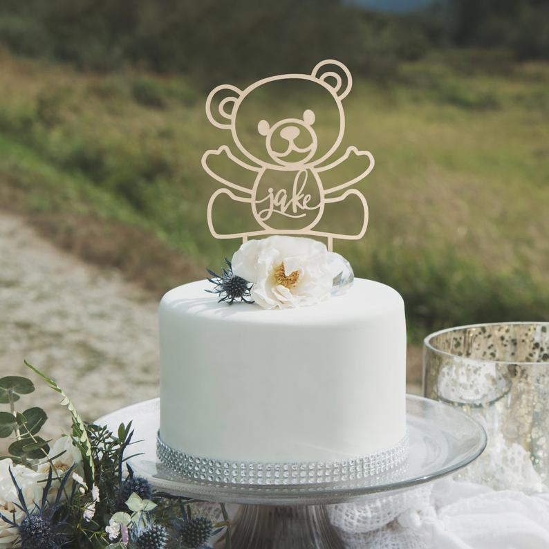 Superb Babys First Birthday Teddy Bear Cake Topper First Birthday Cake Funny Birthday Cards Online Drosicarndamsfinfo
