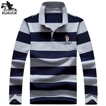 polo shirt men spring autumn new quality mens cotton long sleeve stitching stripes embroidery youth Business casual