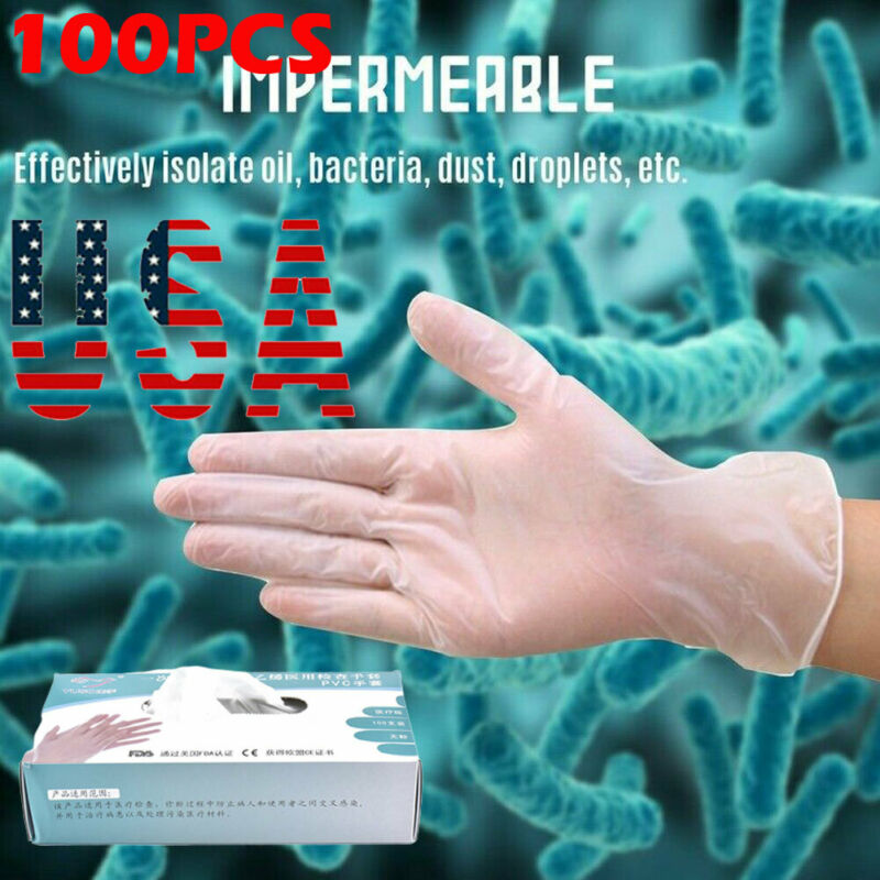 100pcs PVC Disposable Gloves Medical Nitrile Powder Free Non Vinyl Latex M-L