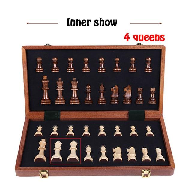 Jeu d'échecs en bois haute qualité 4 reine jeu d'échecs roi hauteur 80mm pièces d'échecs pliant 39*39 cm échiquier avec échiquier en bois I8 2