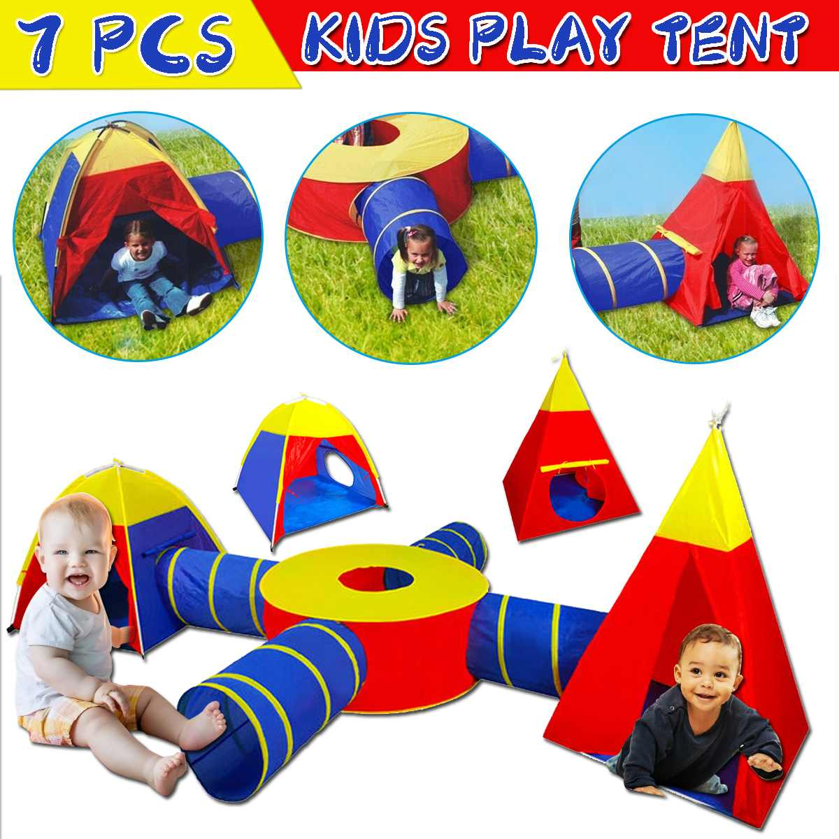 Child tunnel Tent 4 In 1 Tent House Play Toys Foldable Children Crawling Portable Ocean Pool little houses for Kids