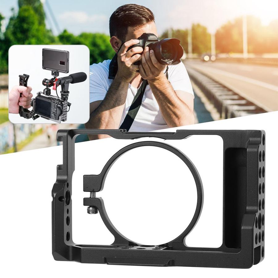 Photography Multihole Aluminium Alloy Camera Cage for Sony <font><b>RX100</b></font> M6/M7 Mirrorless Cameras image