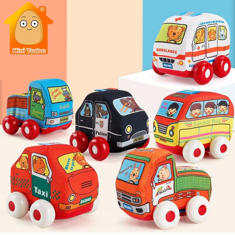 Baby Cloth Pull Back Car Hanging Toys For Baby Rattles Random Newborn Learn Walk Kids Handbell Gift Boy Toy Vehicles