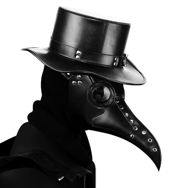 Halloween Steampunk Plague Doctor Mask White/Black Latex Cosplay Bird Beak Masks Long Nose Party Event Ball Costume Props