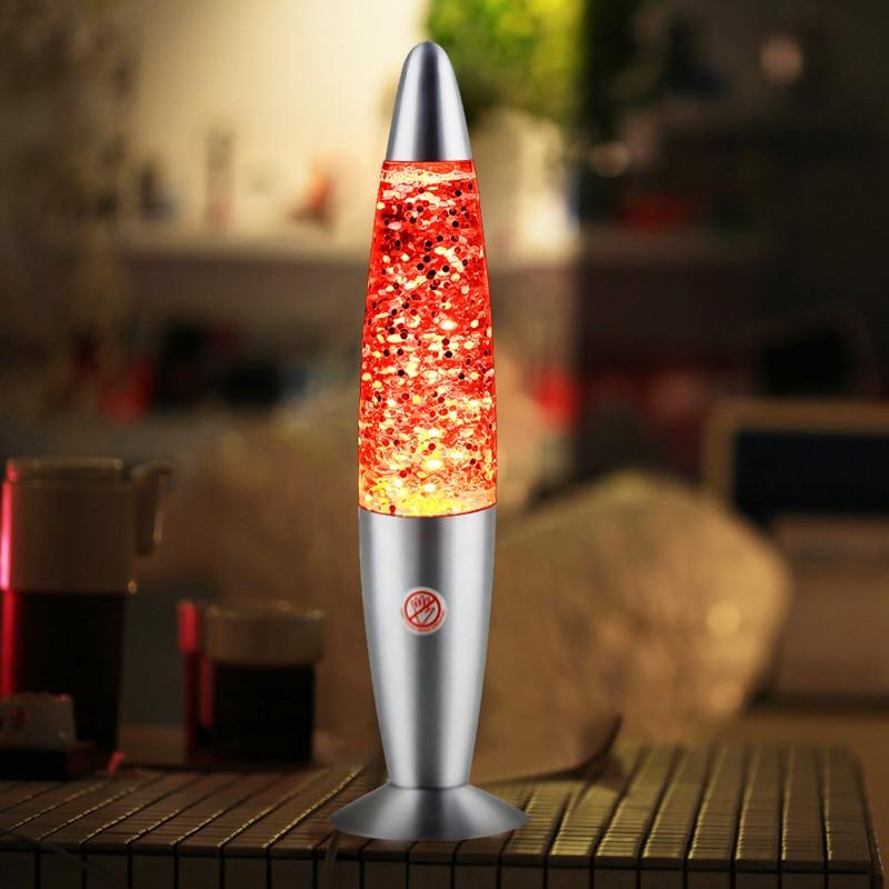 LED Rocket Multi 33Cm Color Changing Lava Lamp RGB LED Glitter Party Mood Night Light Christmas Gift Bedside Night Lamp
