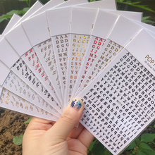 2021 New Colorful 26 Alphabets Nails Sticker DIY Manicure Decal Laser Numbers Nail Art Decorations English Alphabet Stickers