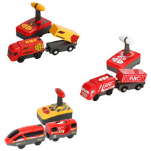 Kids Electric Train Toys Magnetic Slot Diecast Electric Railway with Two Carriages Train Wood Toy For T-hmas Wooden Brio Tracks(China)