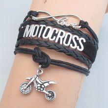 Infinito amor motocross pulseira moda masculino motocicleta charme preto pulseiras de couro & bangle homem motocross bangle