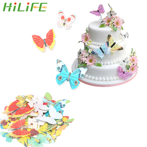 HILIFE 40 Piece/Set Cake Cupcake Topper Edible Glutinous Wafer Rice Paper Butterfly Cake Decoration Birthday Wedding Decor
