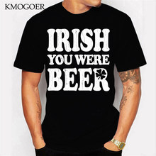 Fashion Men T Shirt Irish You Were Beer Vintage Distressed Look Print Manly Male Black Tops Tees Cotton Vintage Design T-Shirt(China)