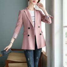 Stylish high quality women's professional office blazer 2020 New Double Breasted Jacket Feminine Casual Sales Workwear Interview