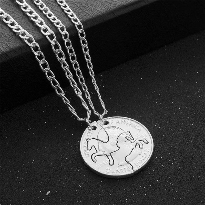 2pcs/Set silver Coin Necklace Charm Lover Couples Necklace Two Horses Best Friend Gifts Pendant Necklaces women men jewelry image
