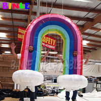 large moving inflatable rainbow costume with clouds inflatable rainbow arch for party decoration