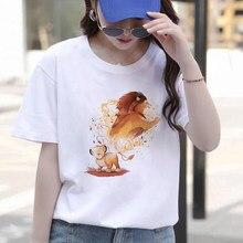 Mode Frauen T Shirt Sommer Kurzarm Lässige Weiß Simba Lion King Druck Harajuku T-shirts Grafik Streetwear T Tops