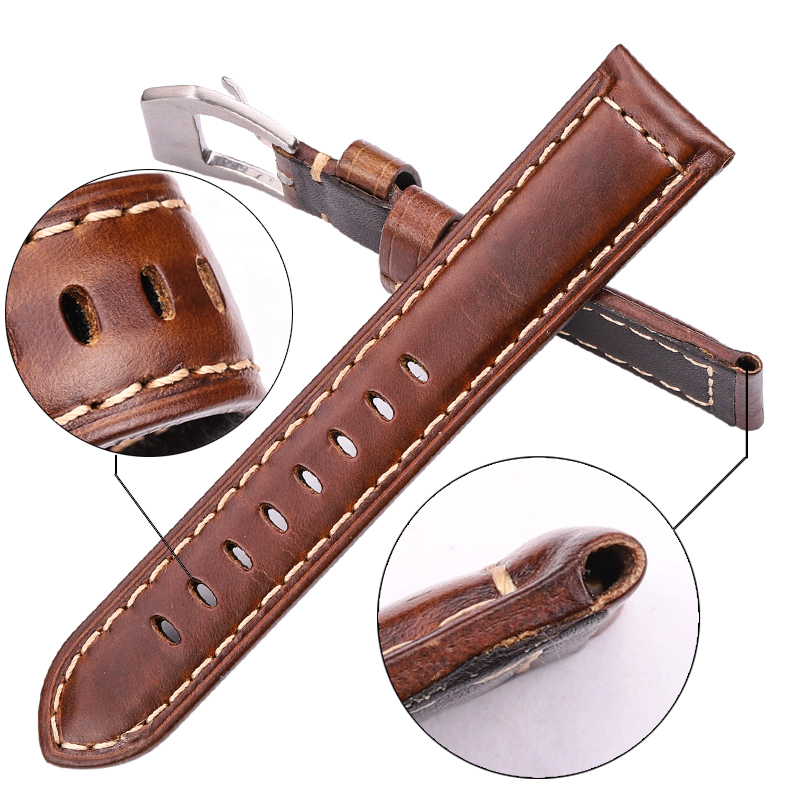 Genuine Leather Watchbadns 20mm 22mm 24mm Dark Brown Woemn Men Cowhide Watch Band Strap Watch Accessories