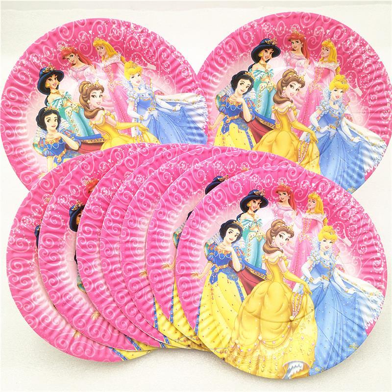 10Pcs Ariel/Snow White/Belle/Cinderella/Jasmine/Aurora Six Princess Paper Plate Birthday Party Supplies Decoration Dishes Favors