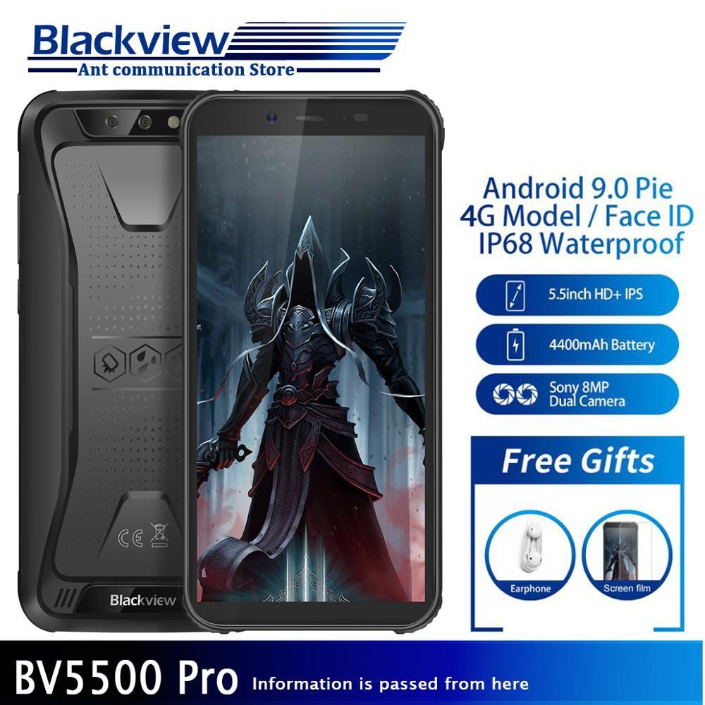 """Blackview BV5500 pro IP68 Водонепроницаемый 4G мобильный телефон 4400 мАч Android 9,0 пирог двойной сим-прочный смартфон 3 ГБ + 16 Гб 5,5 """"экран"""