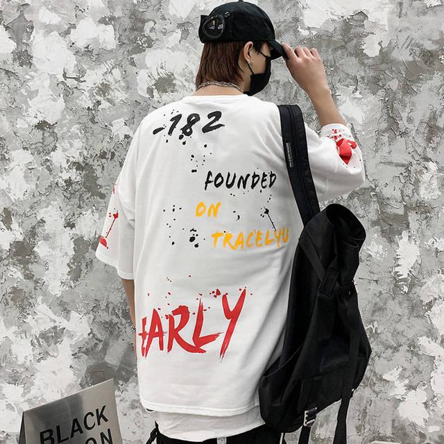 Camiseta de Hip-Hop coreana para hombre, Tops informales Harajuku, ropa de calle japonesa, camisetas con estampado de letras de calle para niño 4