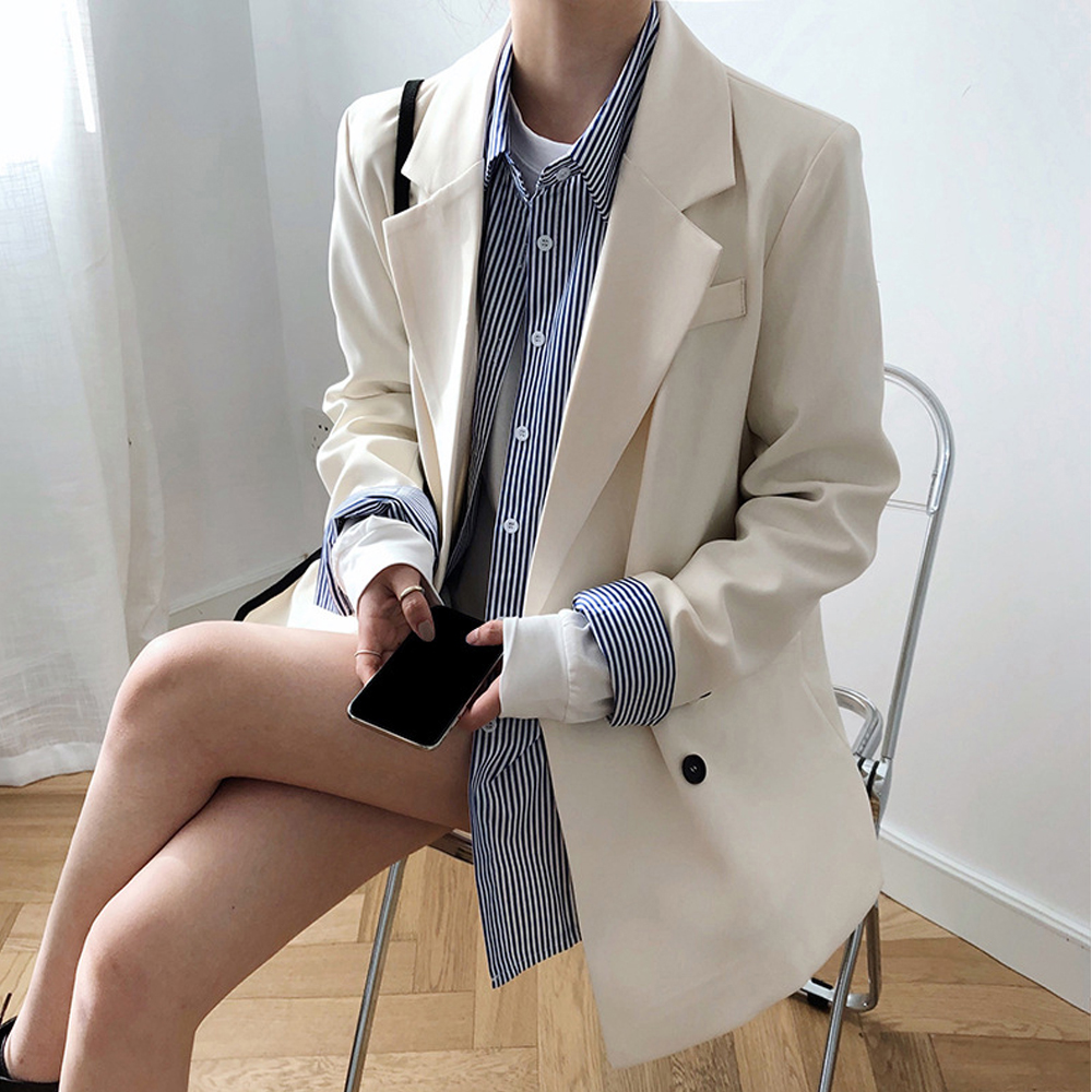 2020 Spring New Fashion Blazer Jacket Women Casual Pockets Long Sleeve Work Suit Top Coat Office Lady  Loose Blazers