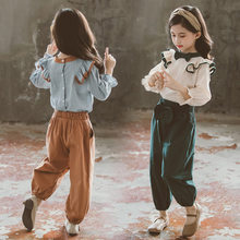 Girl Set Spring Autumn 2019 Sweet Baby Kids Girls Clothing Sets Children Bow Lace Shirt and Loose Harem Pants Teens Sports Suits
