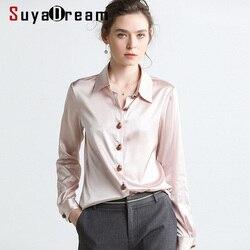 SuyaDream Women Solid Blouses 16MM 100% Silk Satin 2020 Spring Long Sleeved Turn Down Collar Office Blouse Shirt