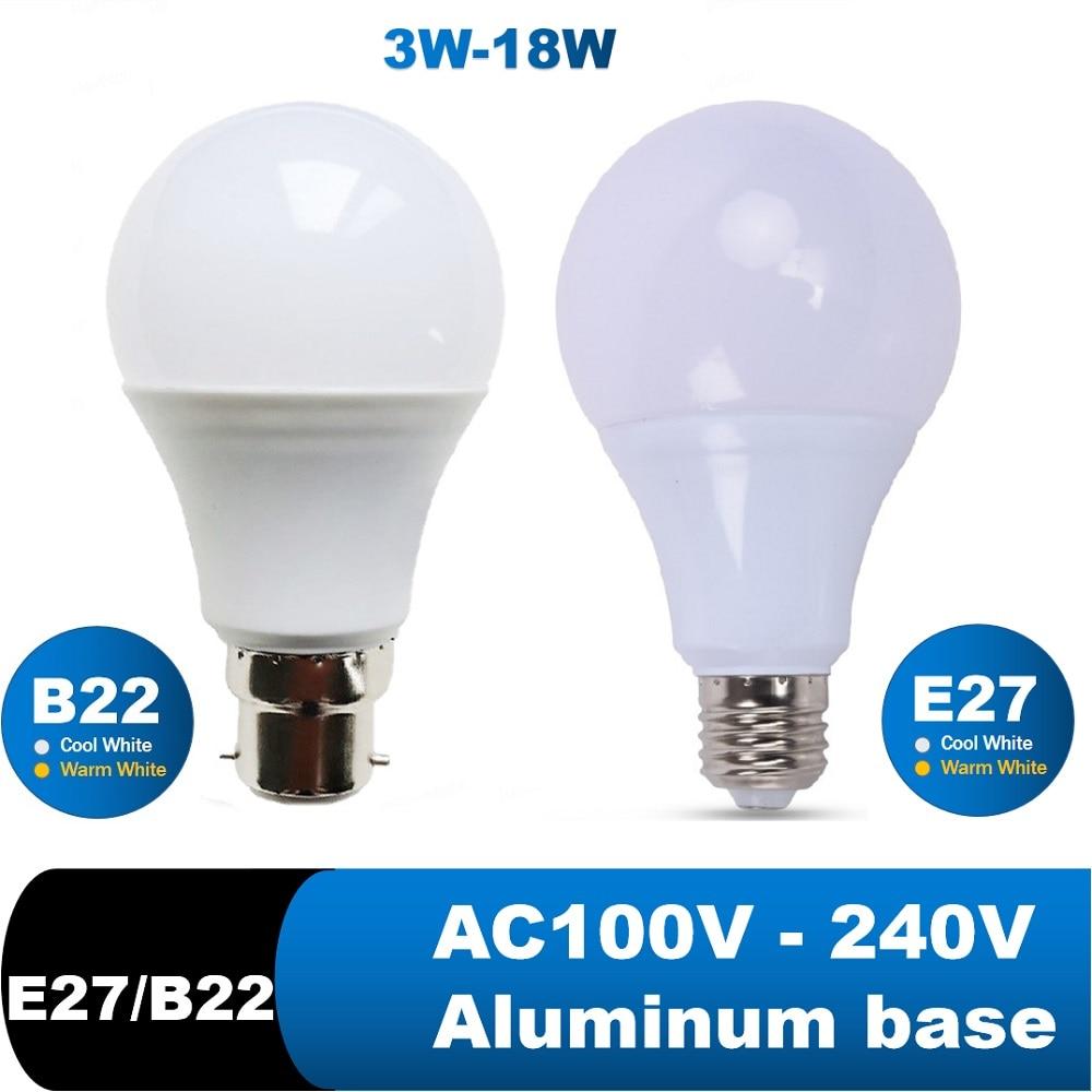 Светодиодные лампы E27 B22, лампа для спальни, светильник для чтения, 6 Вт, 9 Вт, 12 Вт, 15 Вт, 18 Вт, 110 В, 220 В, холодный и теплый белый свет