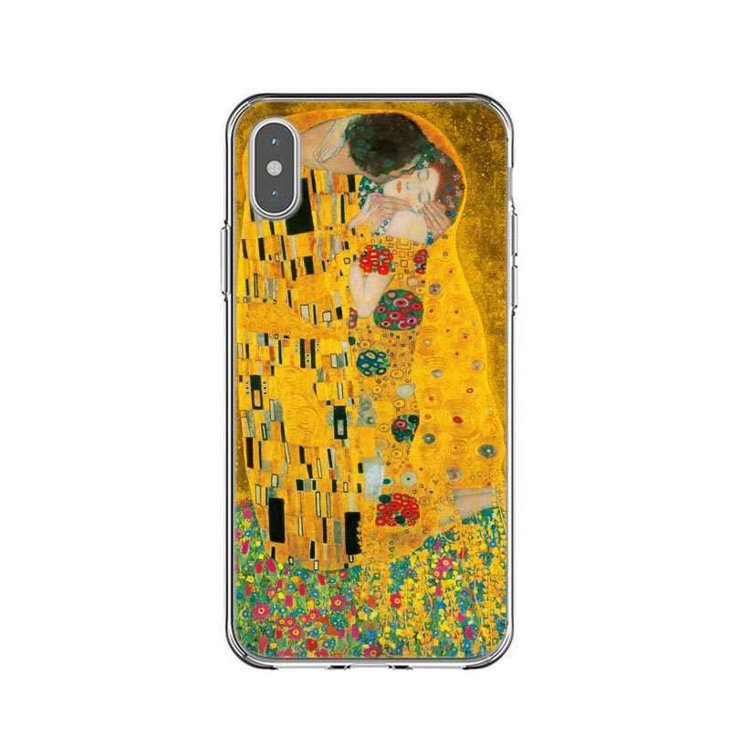 Kiss by Gustav Klimt Дизайн Мягкий силиконовый чехол для телефона для iPhone 5S, SE 6 6S 7 8 Plus X XR XS MAX 11 Pro максимальный чехол Fundas