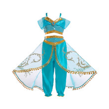 Girls Arabian Princess Costume Jasmine Dress for Carnival Children Aladdin Lamp Fancy Outfit Girl Birthday Party Clothes
