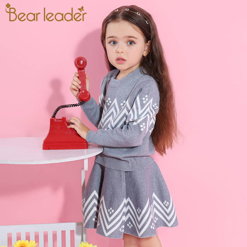 H0c37f12c9b644dd3b3184dadc7edfd20d Bear Leader Girls Dress 2019 Winter Geometric Pattern Dress Long Sleeve Girls Clothes Top Coat+ Tutu Dress Sweater Knitwear 2pcs